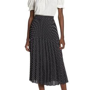 Max Studio Pleated Midi Skirt Polka Dot SZ S NWOT